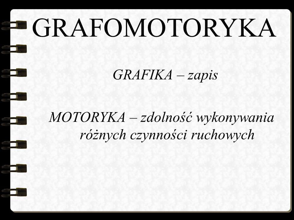 GRAFOMOTORYKA GRAFIKA – zapis MOTORYKA – zdolność wykonywania różnych czynności ruchowych