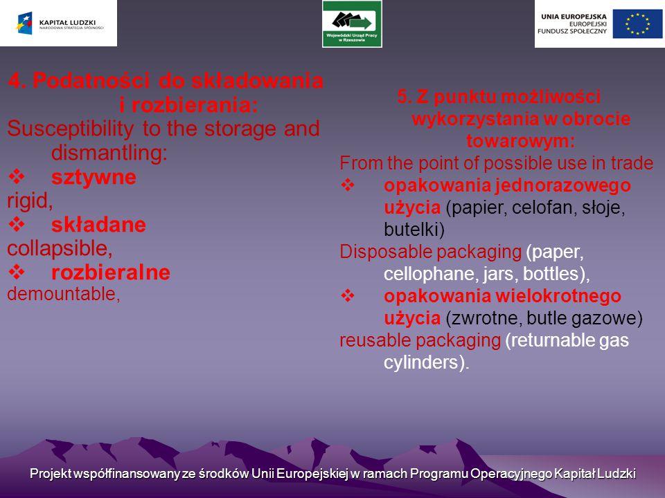 4. Podatności do składowania i rozbierania: