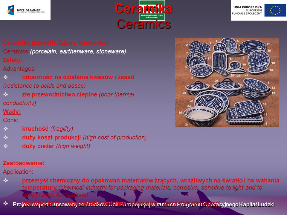 Ceramika Ceramics Ceramika (porcelit, fajans, kamionka)