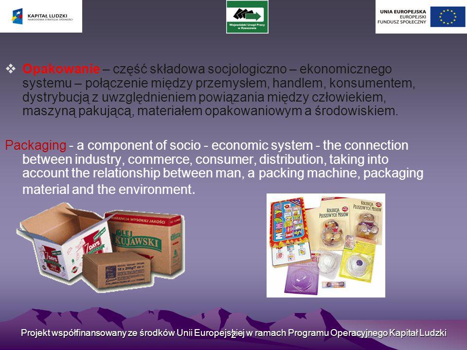 Opakowanie – część składowa socjologiczno – ekonomicznego systemu – połączenie między przemysłem, handlem, konsumentem, dystrybucją z uwzględnieniem powiązania między człowiekiem, maszyną pakującą, materiałem opakowaniowym a środowiskiem.