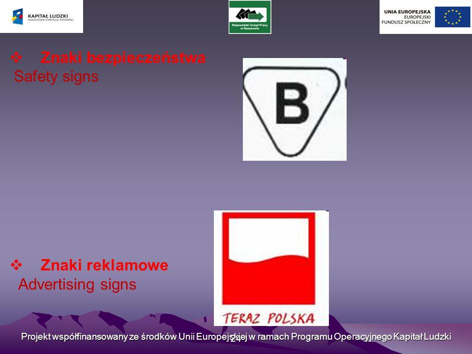 Znaki bezpieczeństwa Safety signs Znaki reklamowe Advertising signs