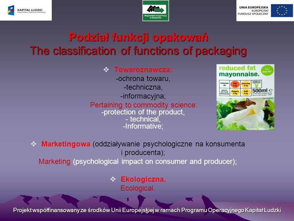Podział funkcji opakowań The classification of functions of packaging