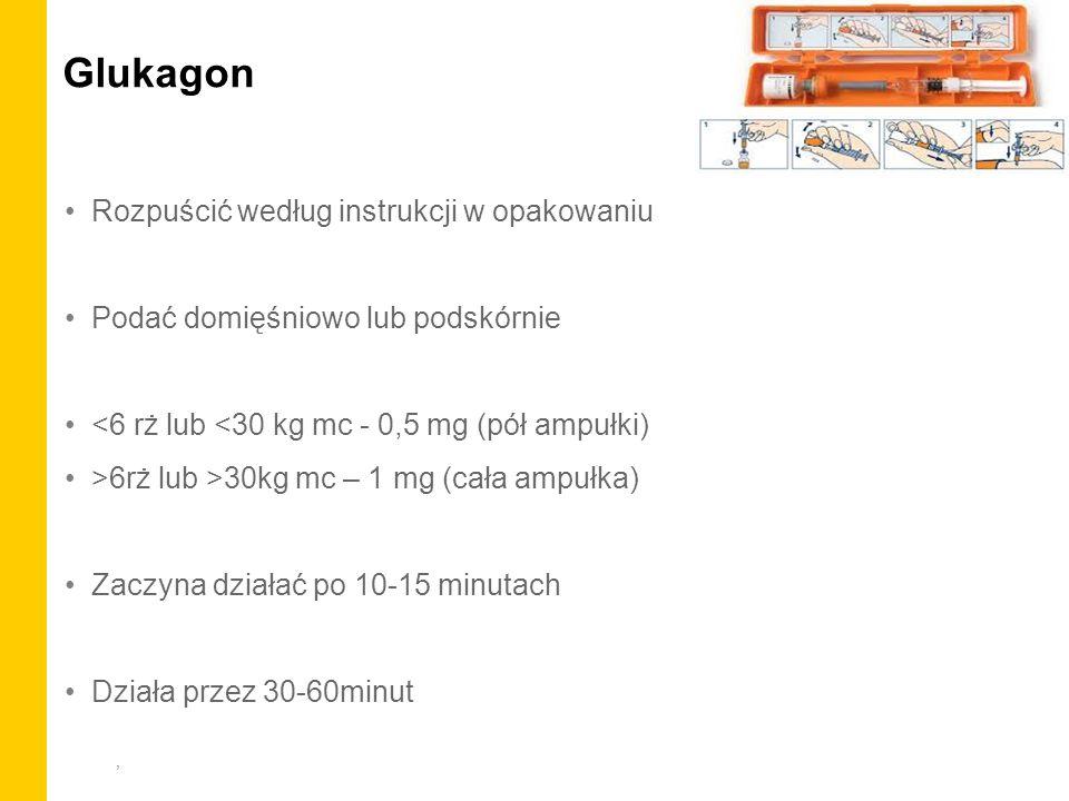 Glukagon Rozpuścić według instrukcji w opakowaniu