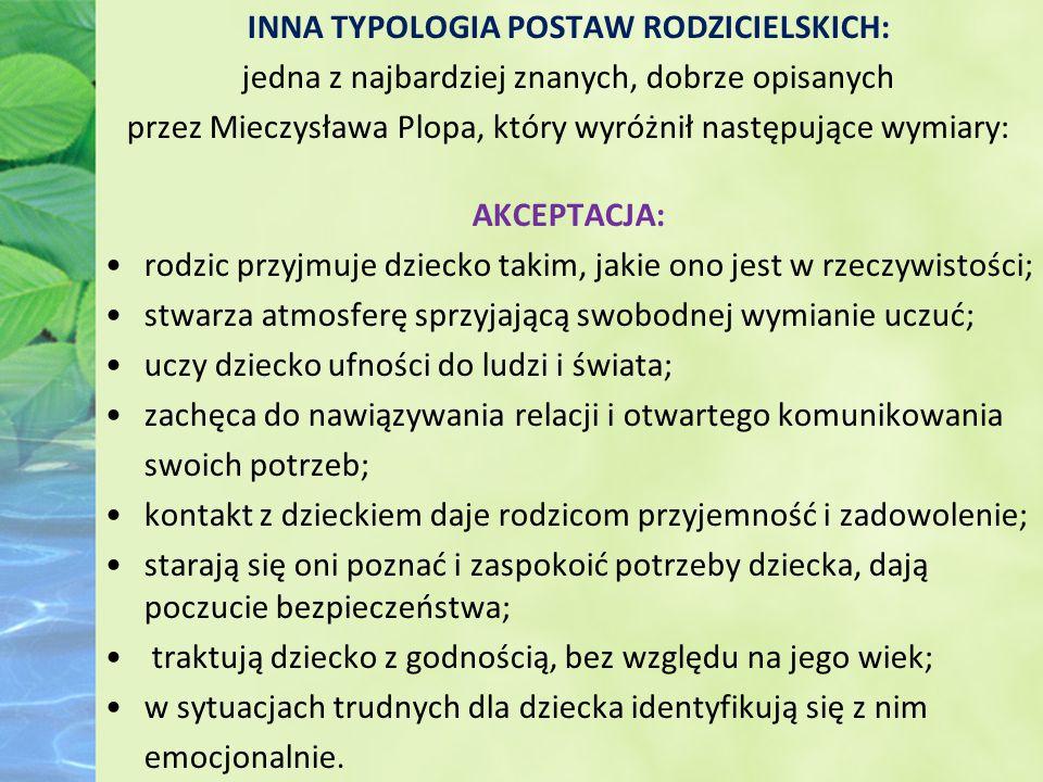 INNA TYPOLOGIA POSTAW RODZICIELSKICH: