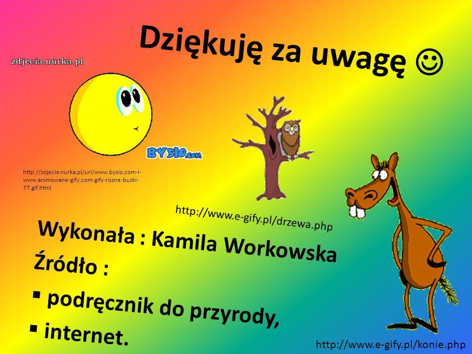 Wykonała : Kamila Workowska Źródło : podręcznik do przyrody, internet.