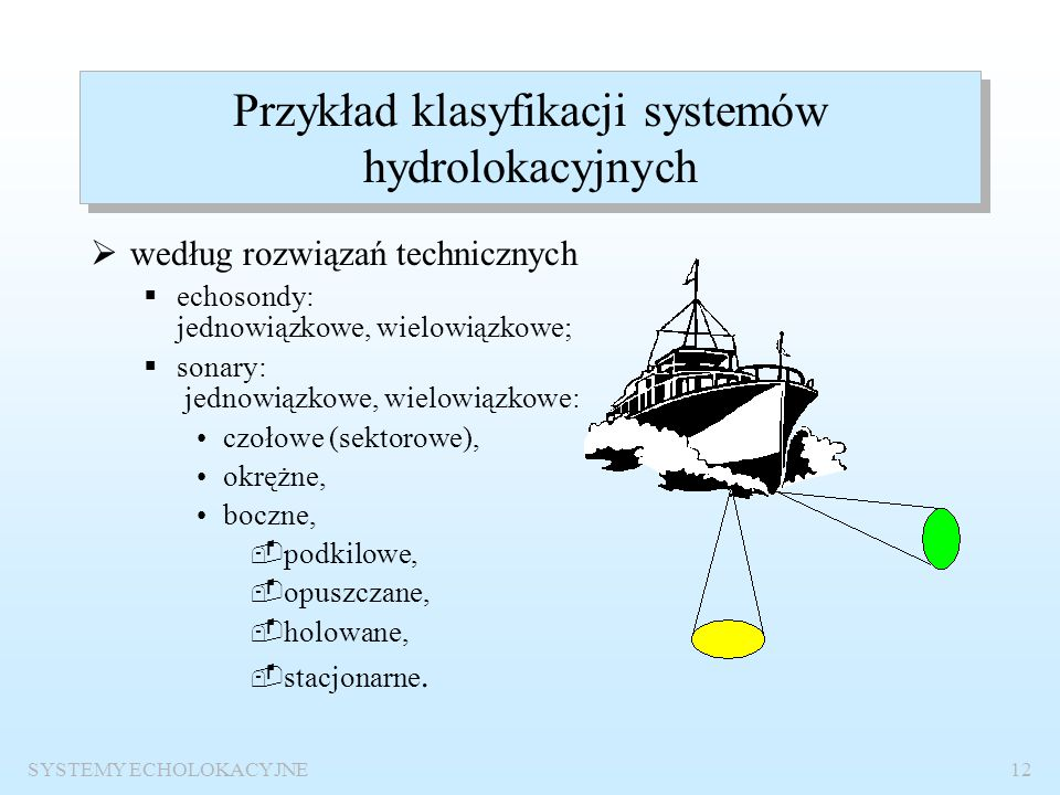 Przykład klasyfikacji systemów hydrolokacyjnych