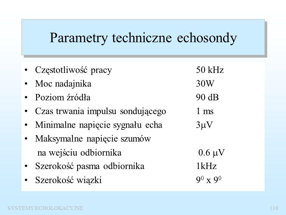 Parametry techniczne echosondy