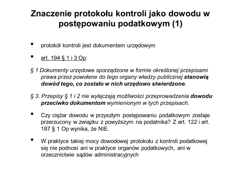 Znaczenie protokołu kontroli jako dowodu w postępowaniu podatkowym (1)
