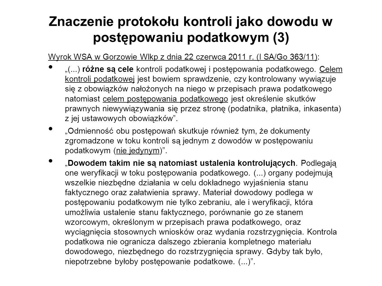 Znaczenie protokołu kontroli jako dowodu w postępowaniu podatkowym (3)