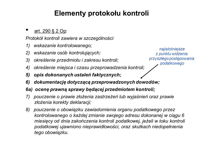Elementy protokołu kontroli