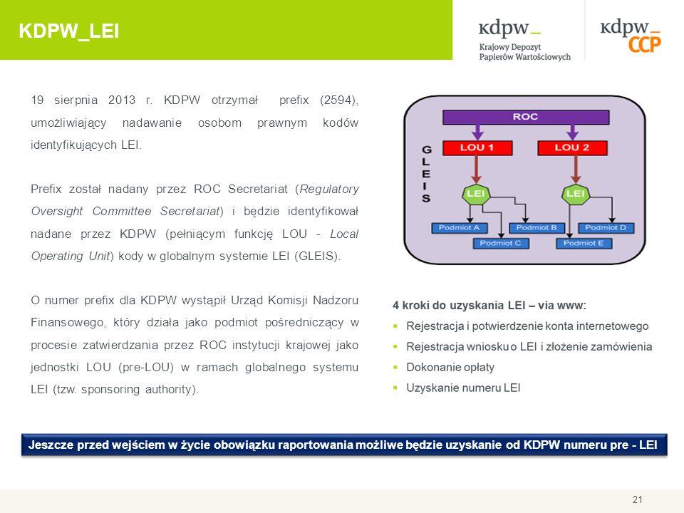 2017-04-09 KDPW_LEI. 19 sierpnia 2013 r. KDPW otrzymał prefix (2594), umożliwiający nadawanie osobom prawnym kodów identyfikujących LEI.