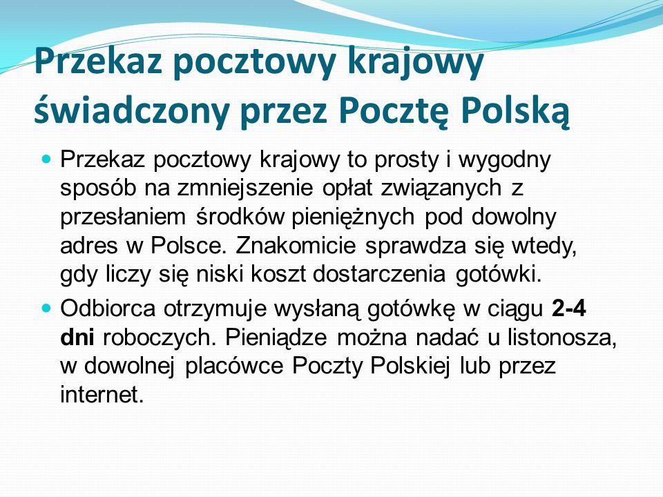 Przekaz pocztowy krajowy świadczony przez Pocztę Polską