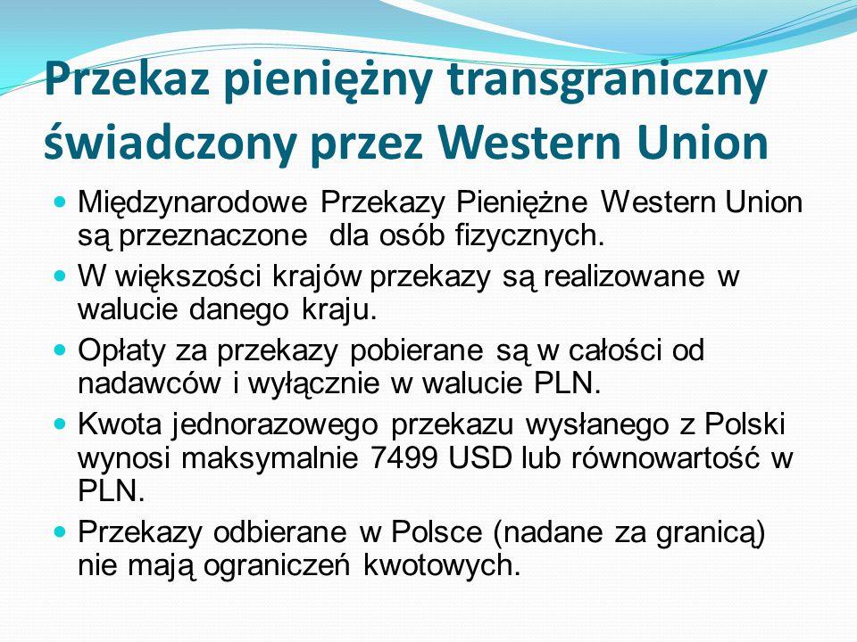 Przekaz pieniężny transgraniczny świadczony przez Western Union