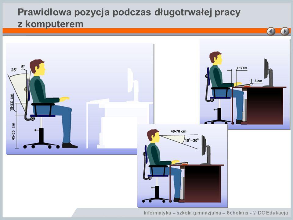 Prawidłowa pozycja podczas długotrwałej pracy z komputerem