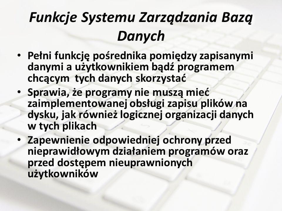 Funkcje Systemu Zarządzania Bazą Danych