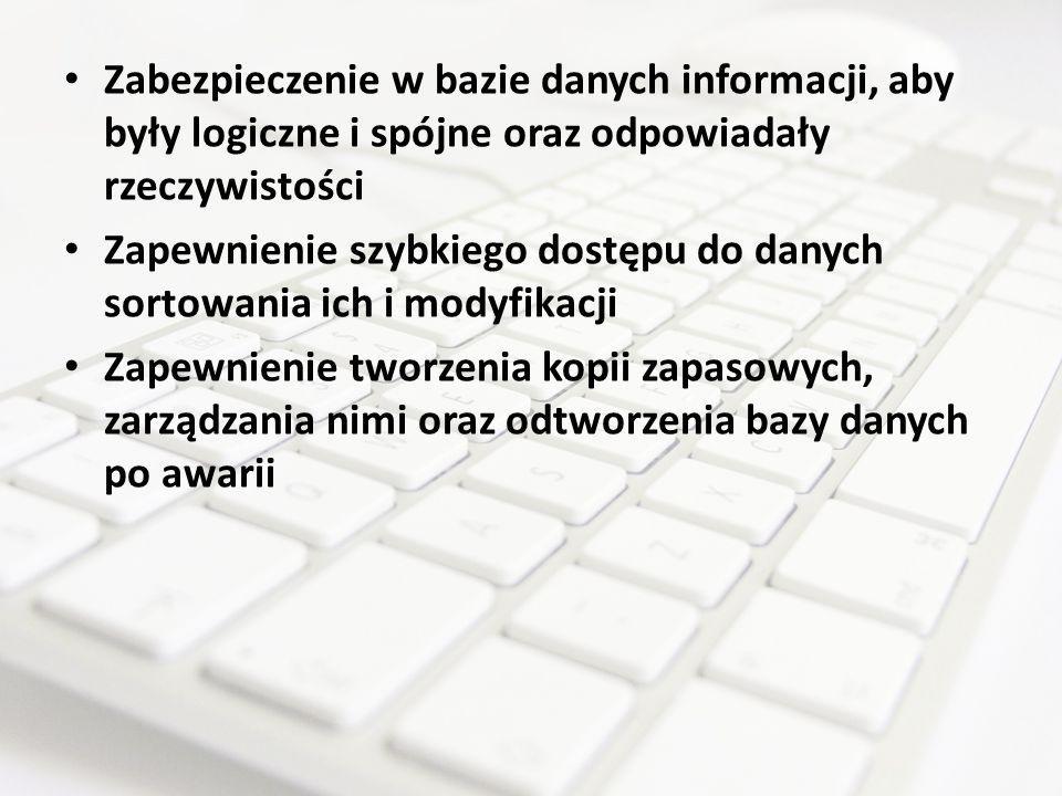Zabezpieczenie w bazie danych informacji, aby były logiczne i spójne oraz odpowiadały rzeczywistości