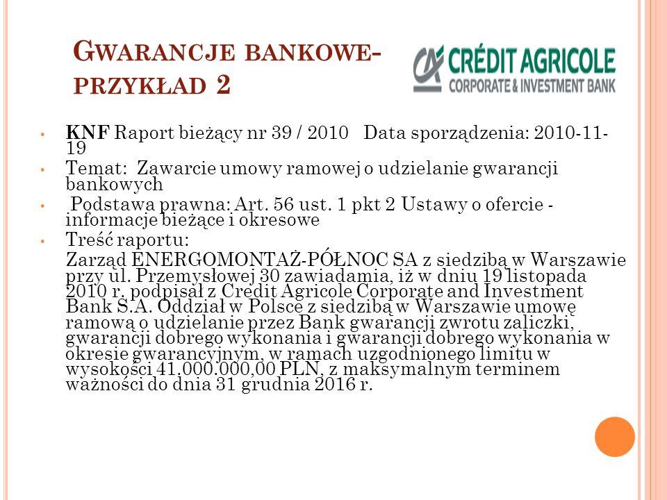 Gwarancje bankowe- przykład 2