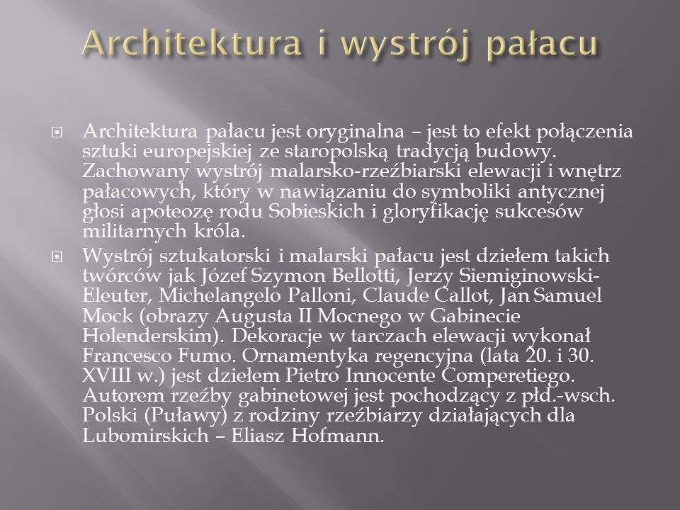 Architektura i wystrój pałacu