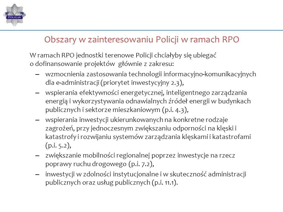 Obszary w zainteresowaniu Policji w ramach RPO