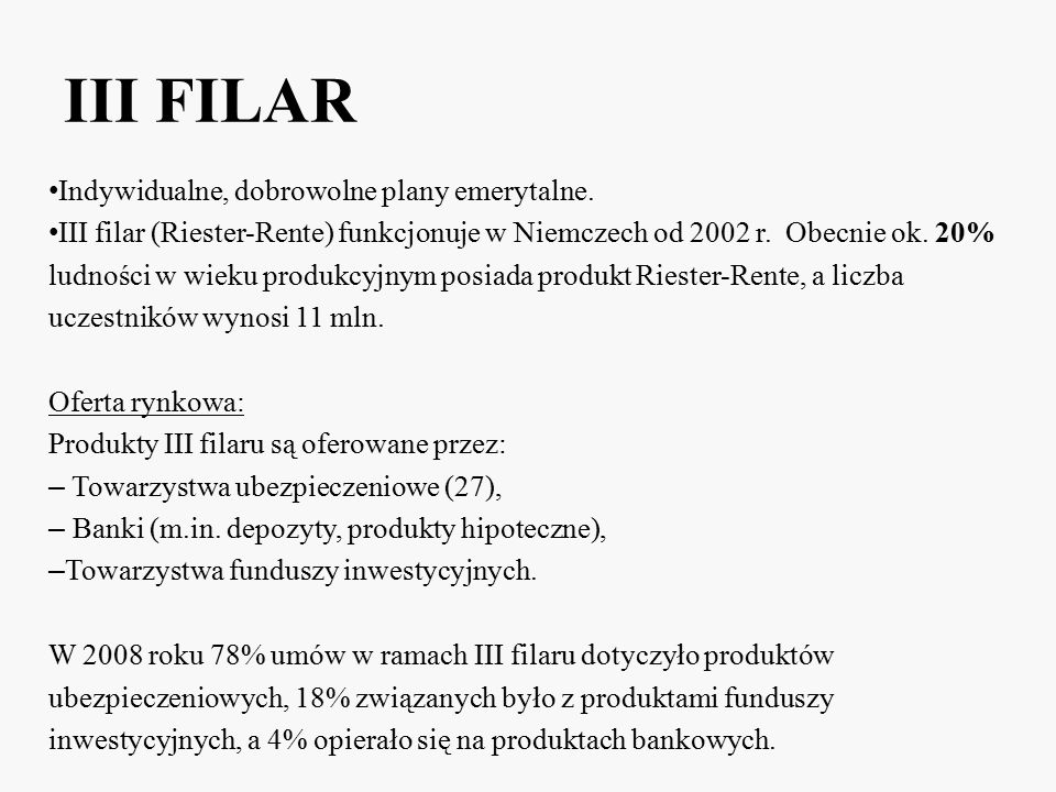 III FILAR Indywidualne, dobrowolne plany emerytalne.