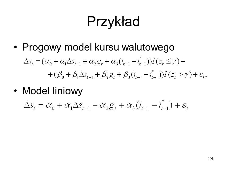 Przykład Progowy model kursu walutowego Model liniowy
