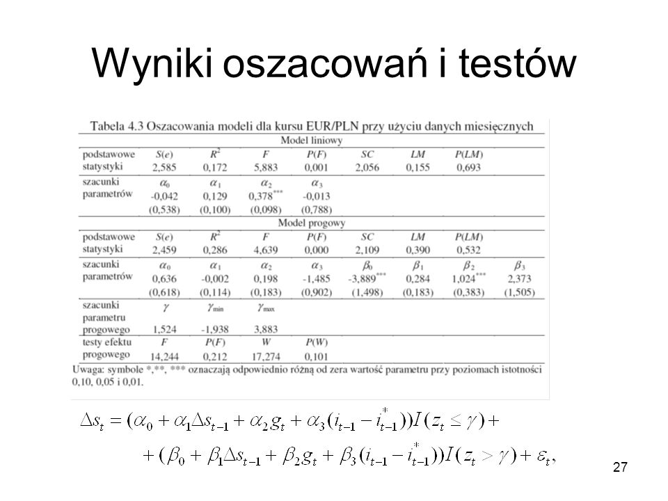 Wyniki oszacowań i testów
