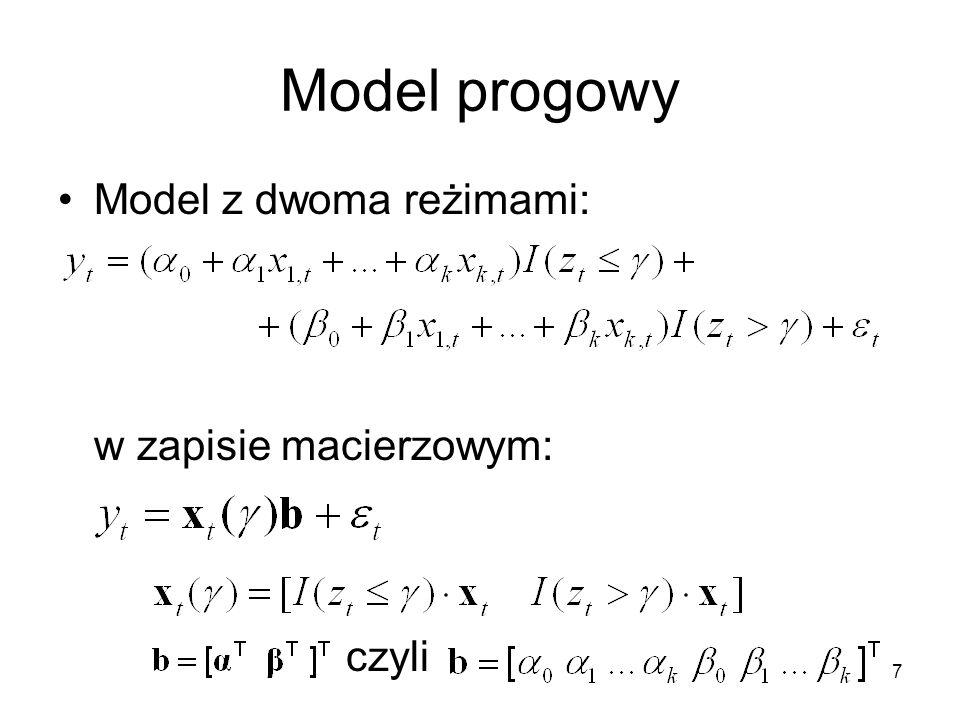 Model progowy Model z dwoma reżimami: w zapisie macierzowym: czyli