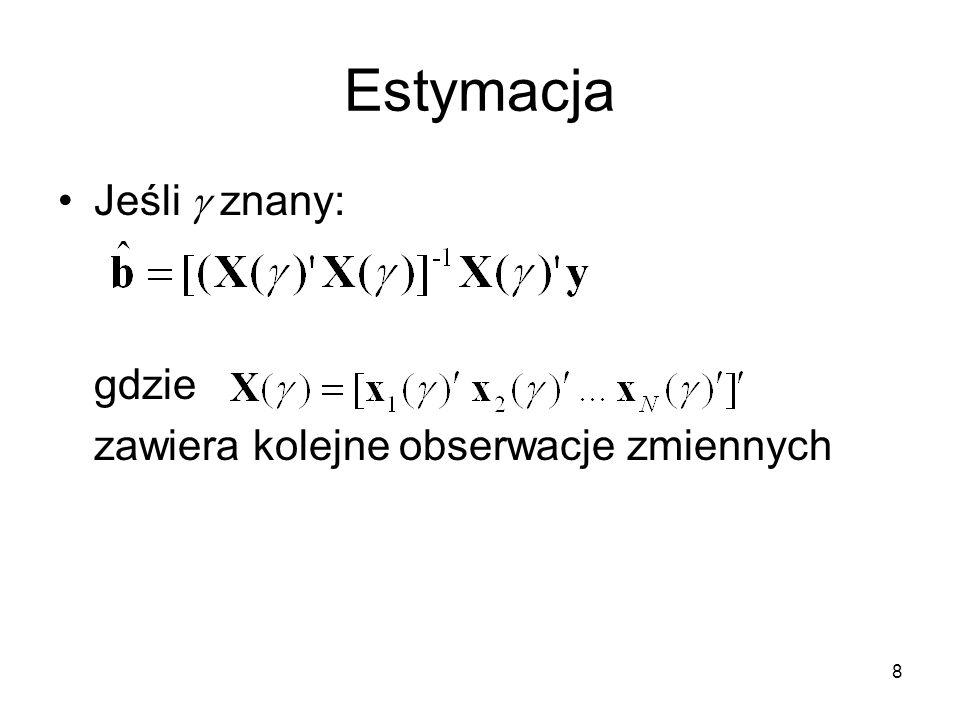 Estymacja Jeśli g znany: gdzie zawiera kolejne obserwacje zmiennych