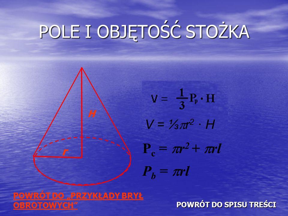 POLE I OBJĘTOŚĆ STOŻKA Pc = r2 + rl Pb = rl V = ⅓r2 · H r H
