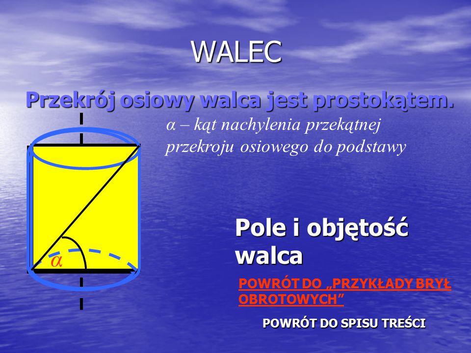 WALEC Pole i objętość walca α Przekrój osiowy walca jest prostokątem.