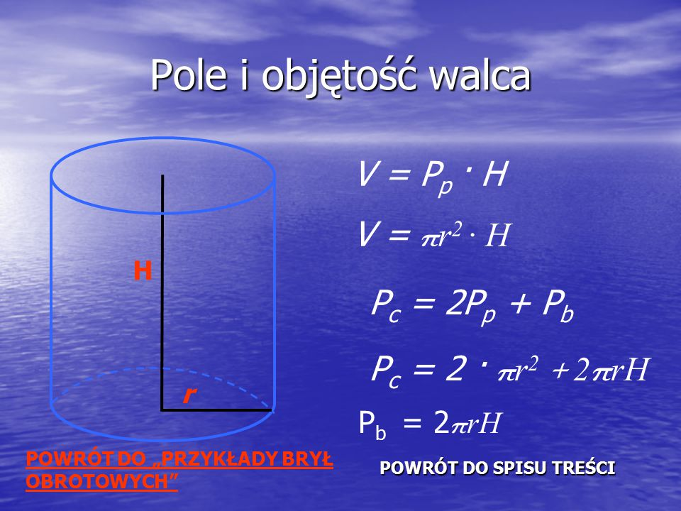 Pole i objętość walca V = Pp · H V = πr2 · H Pc = 2Pp + Pb