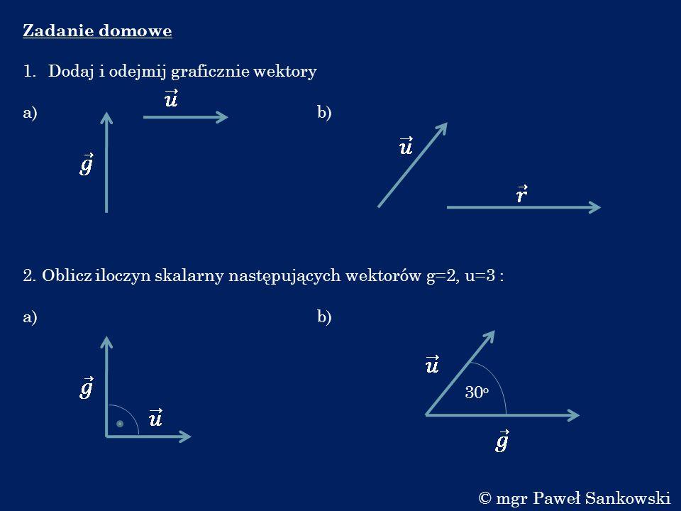Zadanie domowe Dodaj i odejmij graficznie wektory. a) b)