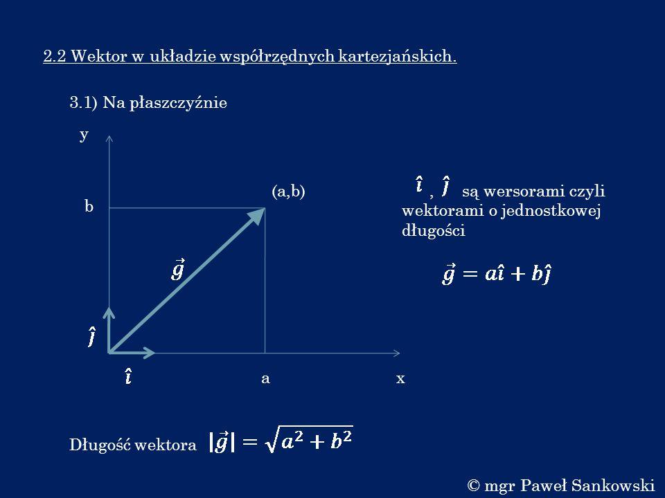 2.2 Wektor w układzie współrzędnych kartezjańskich.