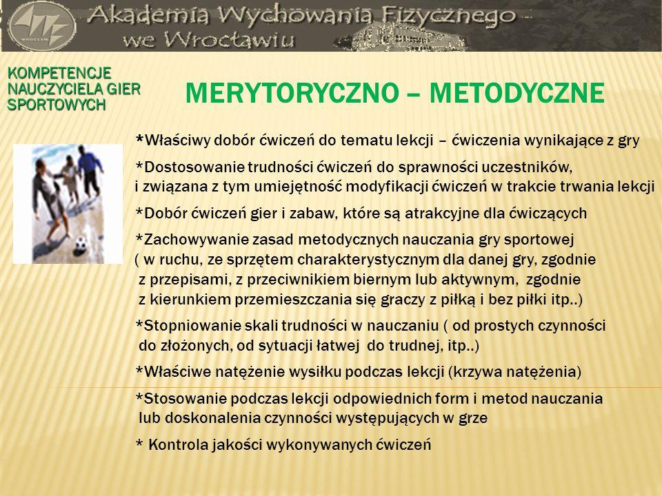 MERYTORYCZNO – METODYCZNE