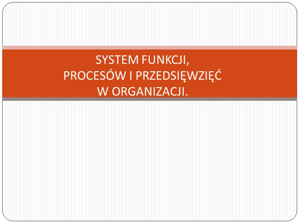 SYSTEM FUNKCJI, PROCESÓW I PRZEDSIĘWZIĘĆ W ORGANIZACJI.