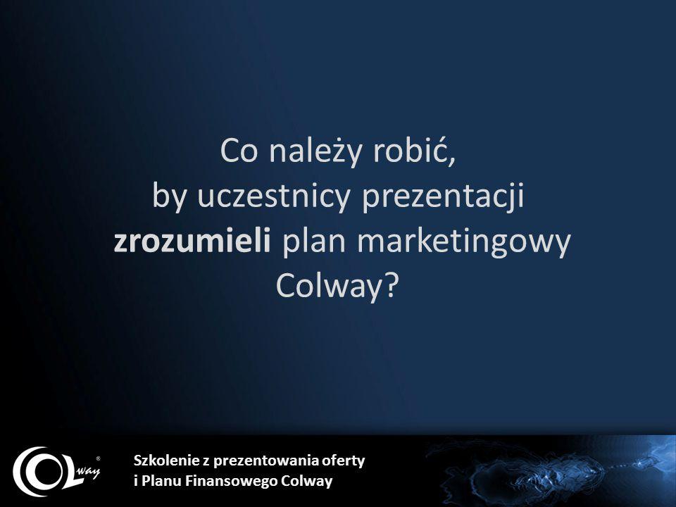 Co należy robić, by uczestnicy prezentacji zrozumieli plan marketingowy Colway