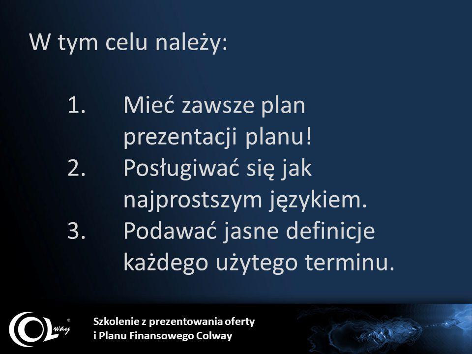 W tym celu należy: 1. Mieć zawsze plan. prezentacji planu. 2