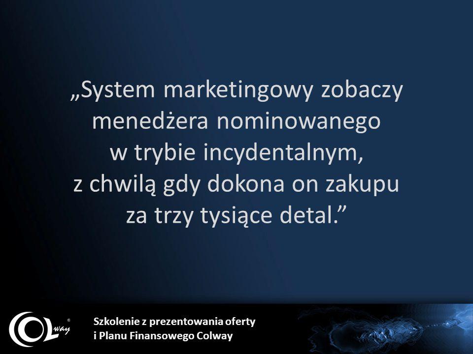"""""""System marketingowy zobaczy menedżera nominowanego w trybie incydentalnym, z chwilą gdy dokona on zakupu za trzy tysiące detal."""