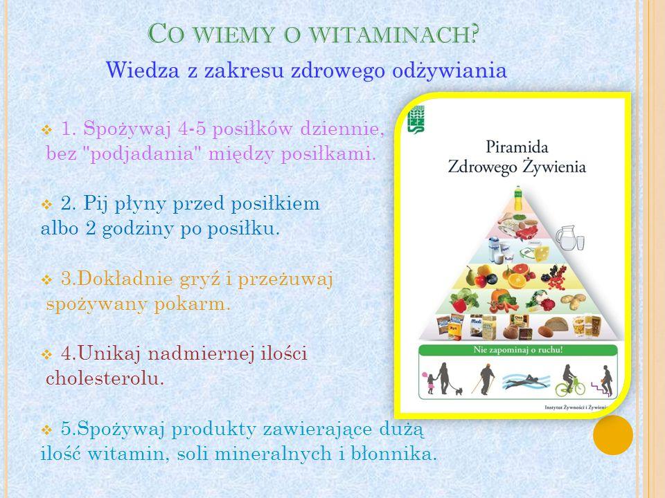 Co wiemy o witaminach Wiedza z zakresu zdrowego odżywiania