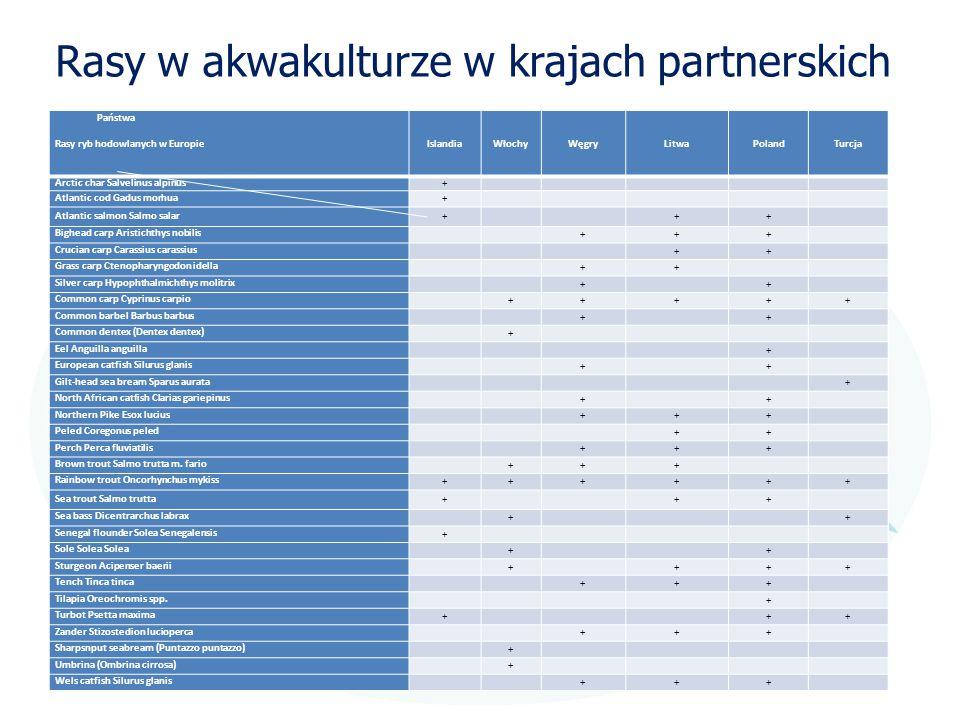 Rasy w akwakulturze w krajach partnerskich