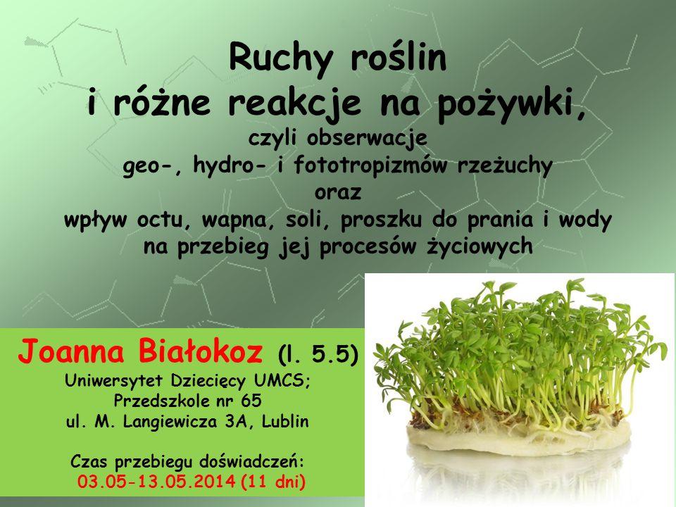 Ruchy roślin i różne reakcje na pożywki,
