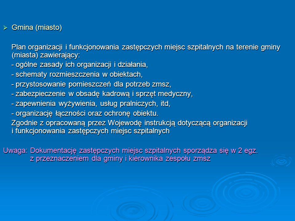 Gmina (miasto) Plan organizacji i funkcjonowania zastępczych miejsc szpitalnych na terenie gminy (miasta) zawierający: