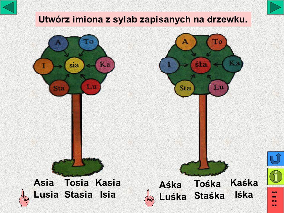 Utwórz imiona z sylab zapisanych na drzewku.