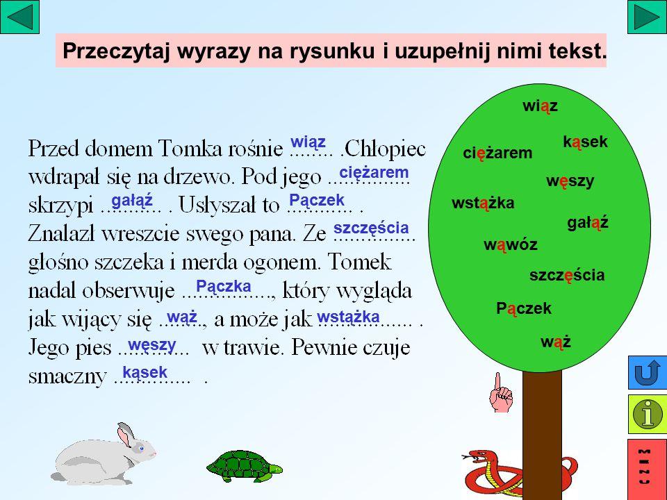 Przeczytaj wyrazy na rysunku i uzupełnij nimi tekst.