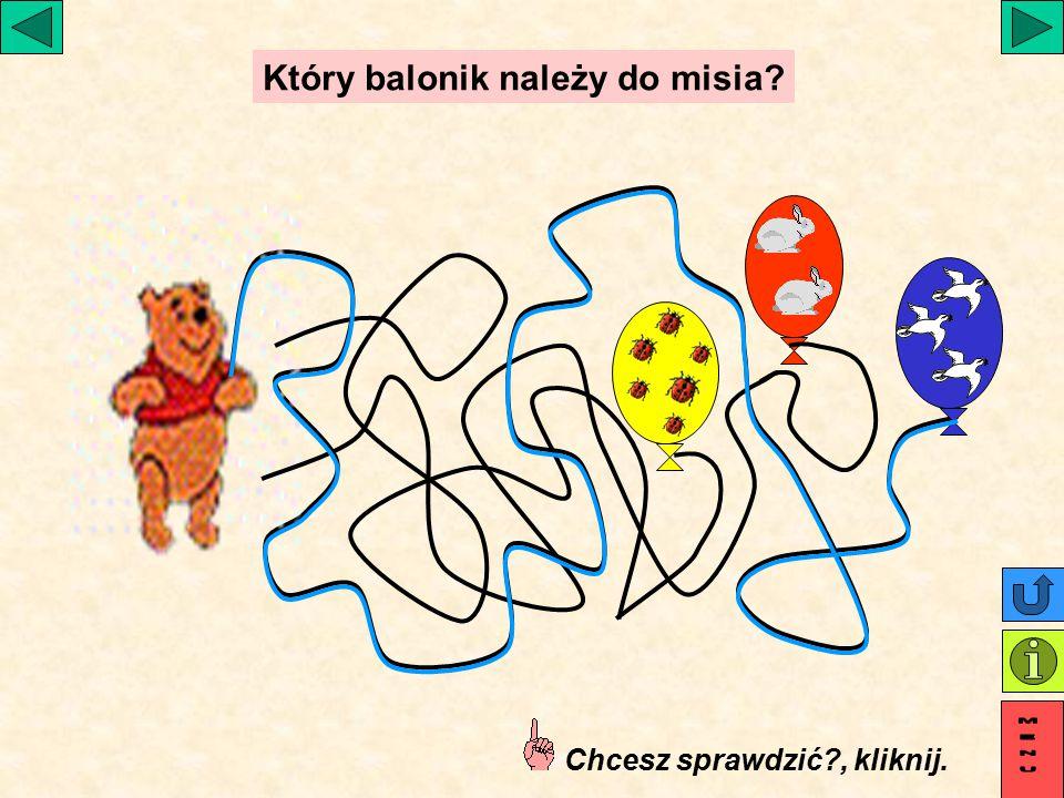 Który balonik należy do misia Chcesz sprawdzić , kliknij.