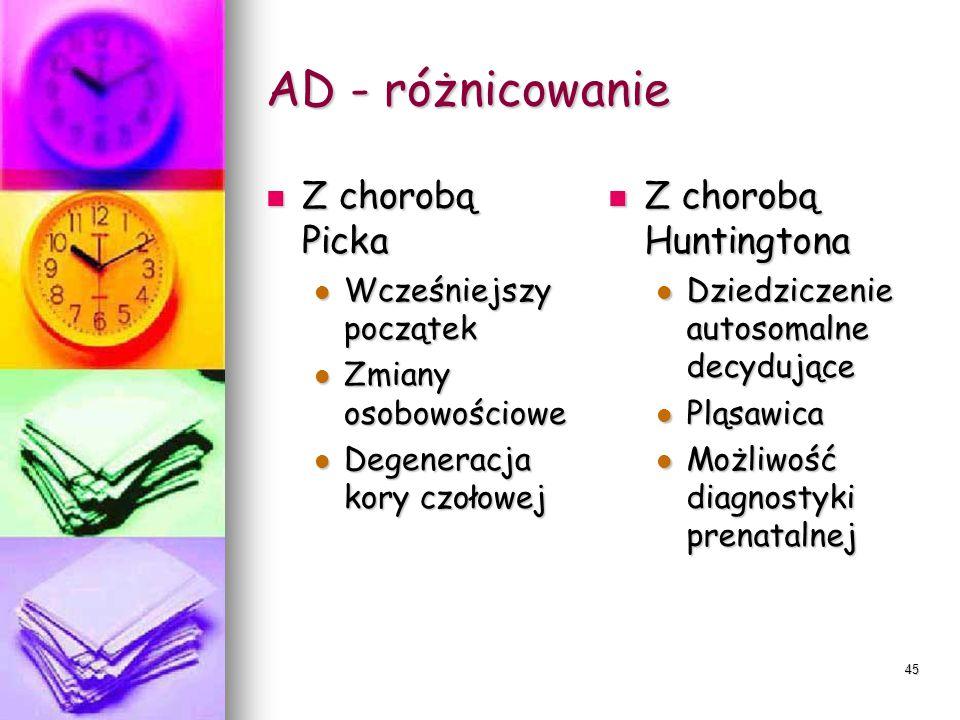 AD - różnicowanie Z chorobą Picka Z chorobą Huntingtona