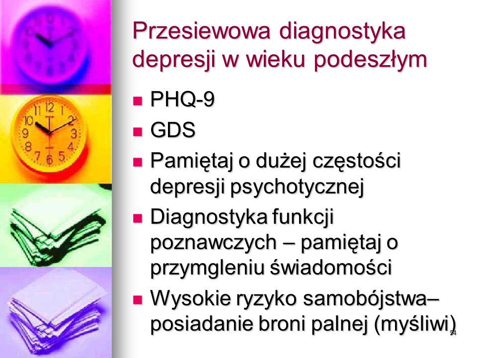 Przesiewowa diagnostyka depresji w wieku podeszłym
