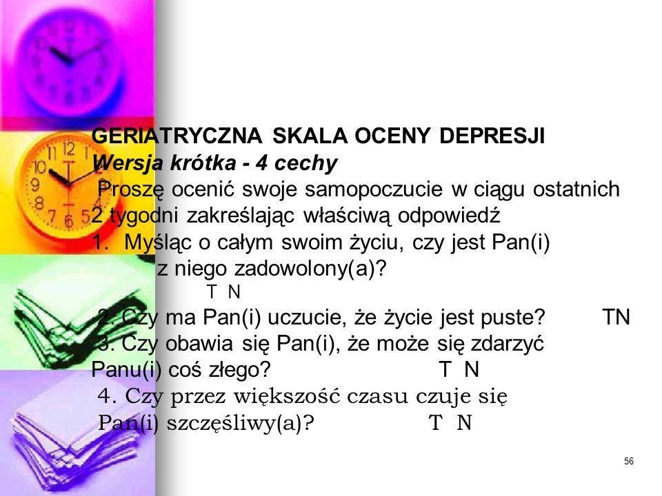 GERIATRYCZNA SKALA OCENY DEPRESJI Wersja krótka - 4 cechy
