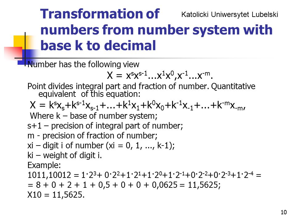 Transformation of numbers from number system with base k to decimal