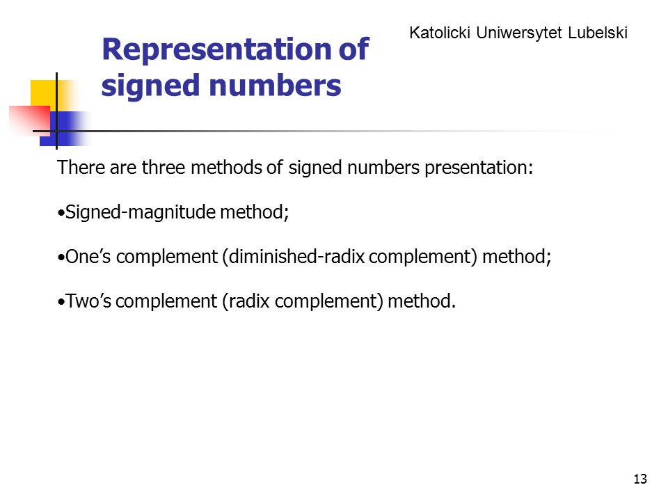 Representation of signed numbers